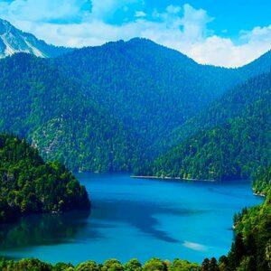Озеро, горы, Абхазия, Рица