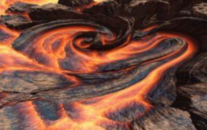 Стихийное пространство Огонь Земля. Извержение вулкана. Природный пожар. Революция, бунт, насильственное внедрение. новая размерность будущего