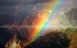 Стихийное пространство ОГОНЬ—ЗЕМЛЯ К ВОДЕ, радуга - одна из форм власти, встреча Неба и Земли, дорога в иные миры; граница мира людей и богов